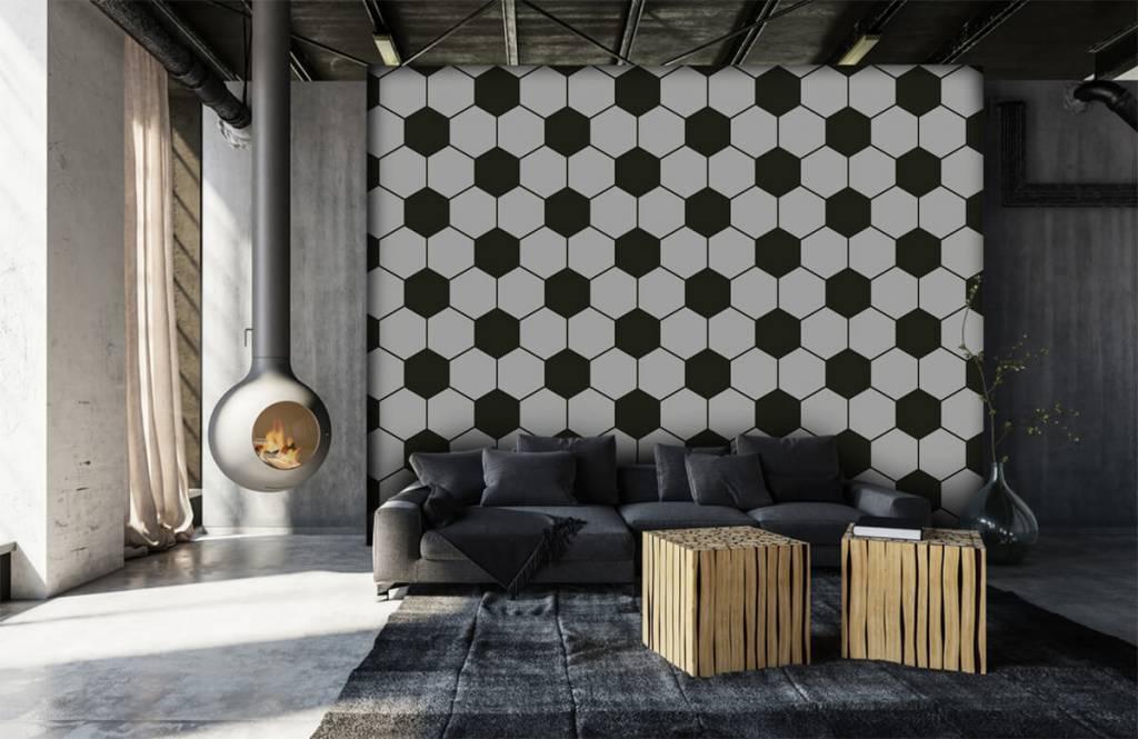 Soccer wallpaper - Black and white geometric polygons - Children's room 6