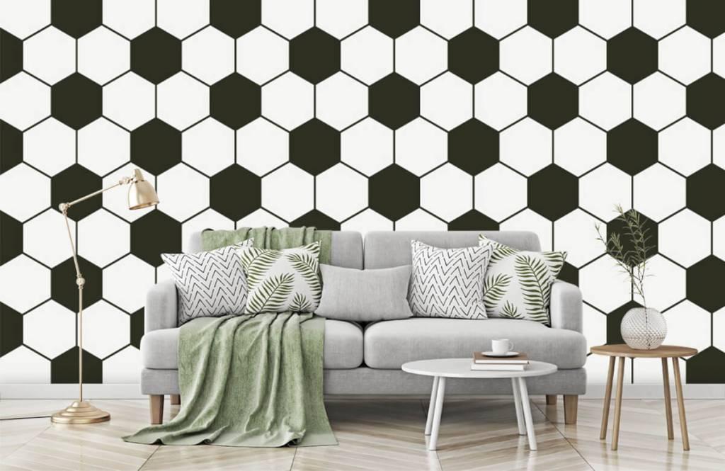 Soccer wallpaper - Black and white geometric polygons - Children's room 7