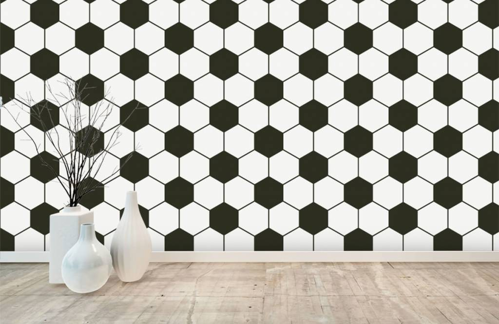 Soccer wallpaper - Black and white geometric polygons - Children's room 8