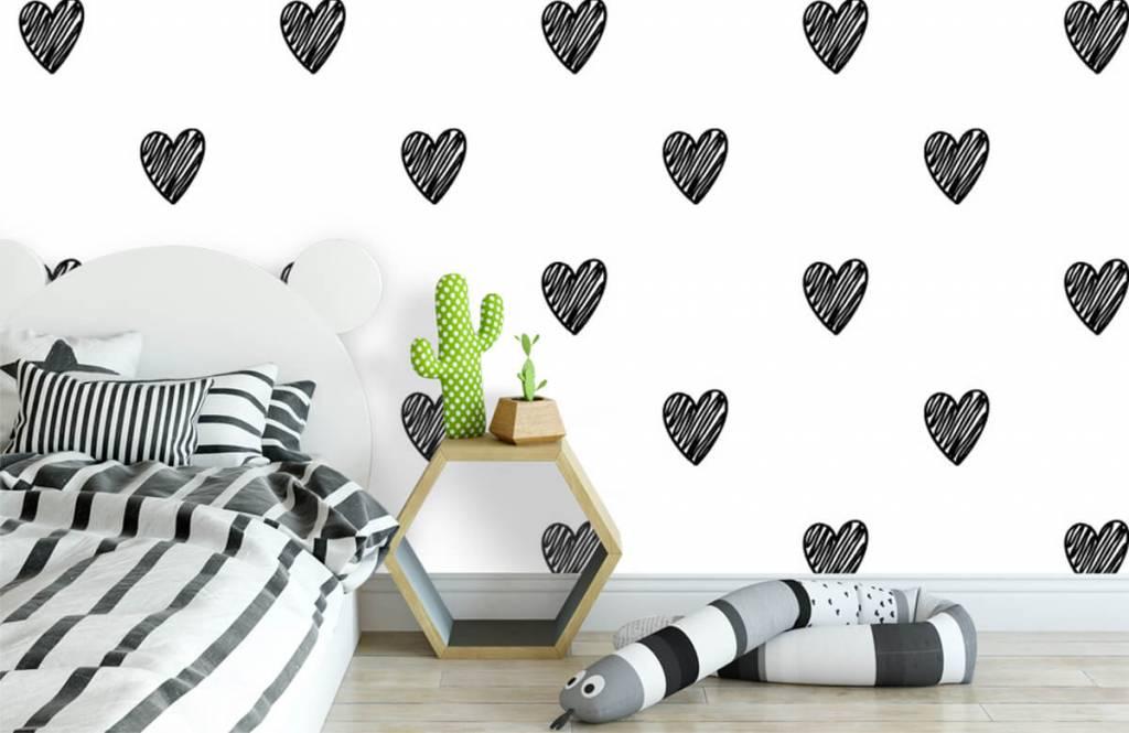 Black and white wallpaper - Black drawn hearts - Children's room 1