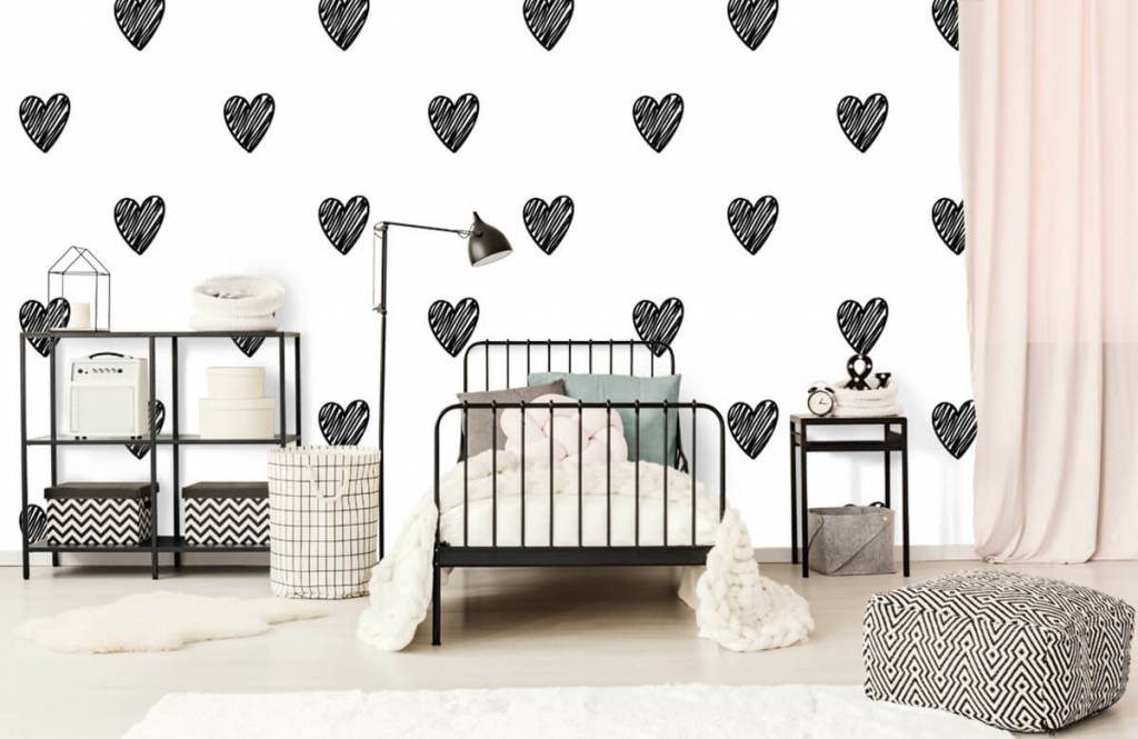 Black and white wallpaper - Black drawn hearts - Children's room 2