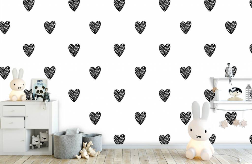 Black and white wallpaper - Black drawn hearts - Children's room 4