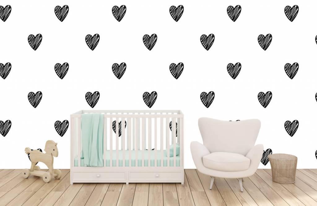 Black and white wallpaper - Black drawn hearts - Children's room 5