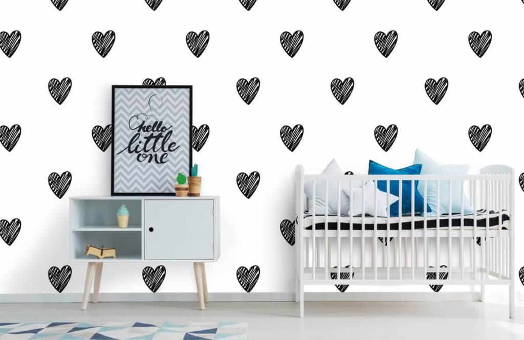 Black and white wallpaper - Black drawn hearts - Children's room 6