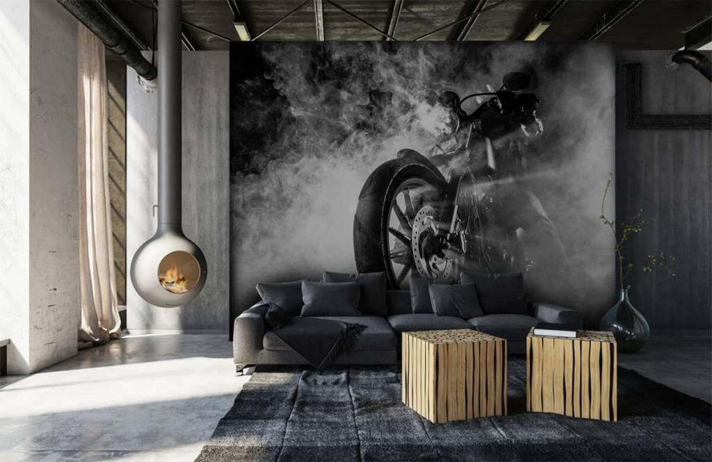 Black and white wallpaper - Engine with smoke - Teenage room 1