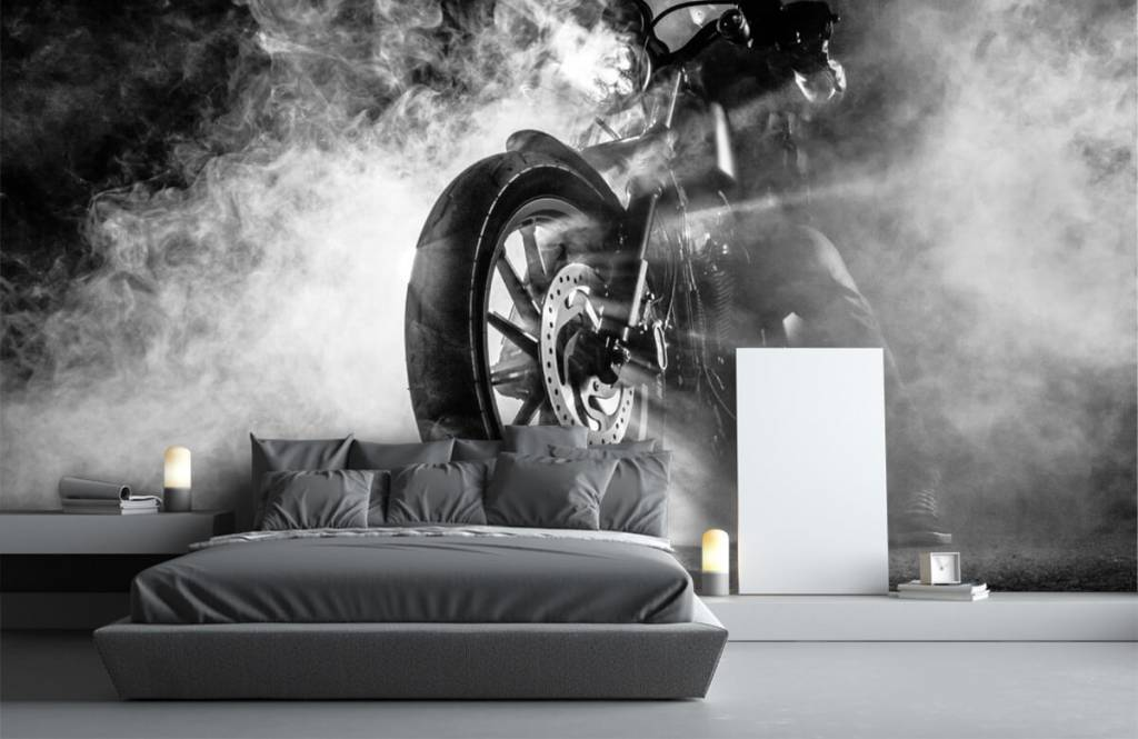 Black and white wallpaper - Engine with smoke - Teenage room 2