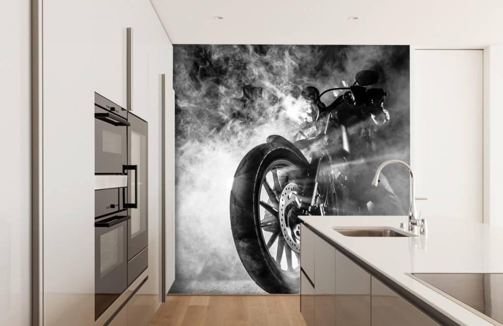 Black and white wallpaper - Engine with smoke - Teenage room 4