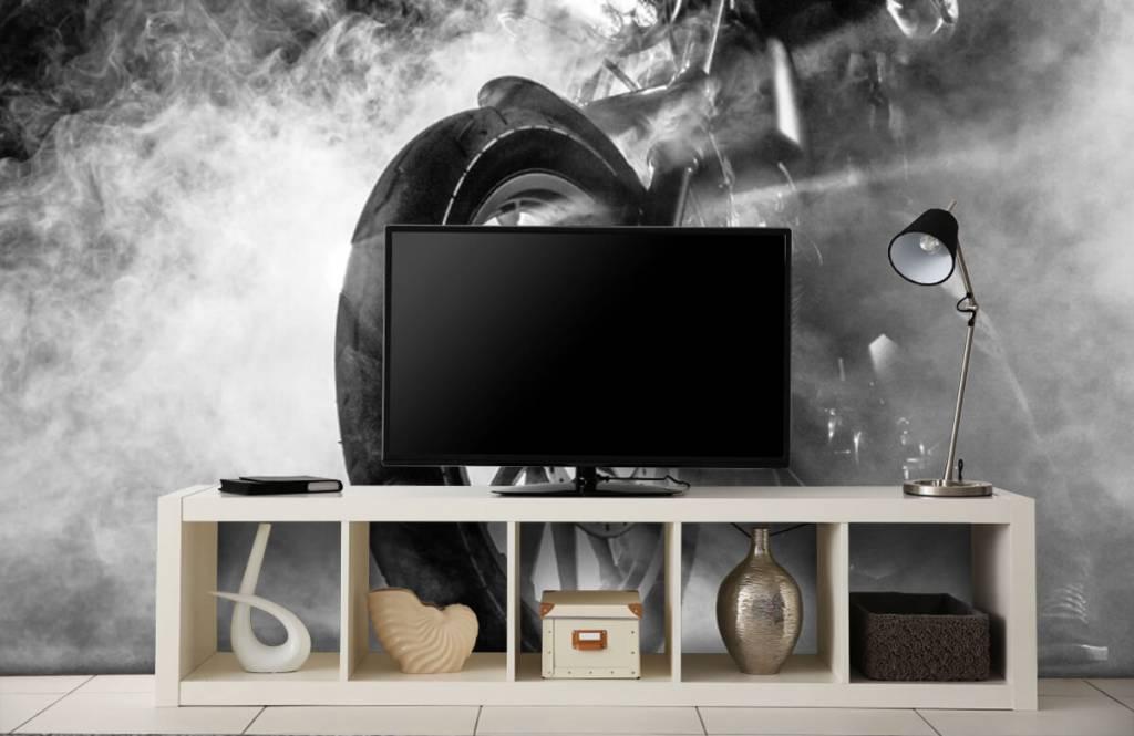 Black and white wallpaper - Engine with smoke - Teenage room 5