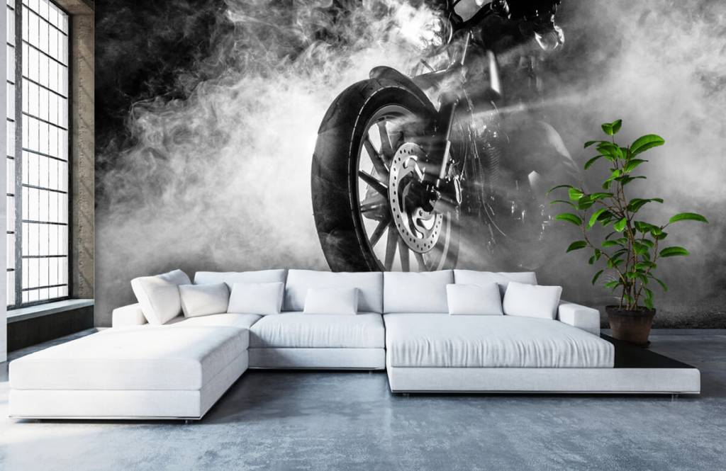 Black and white wallpaper - Engine with smoke - Teenage room 6