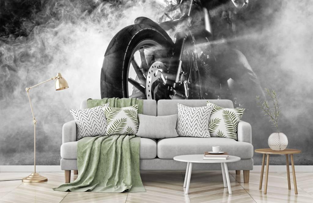 Black and white wallpaper - Engine with smoke - Teenage room 7