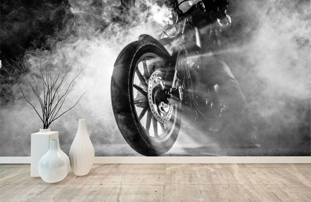 Black and white wallpaper - Engine with smoke - Teenage room 8