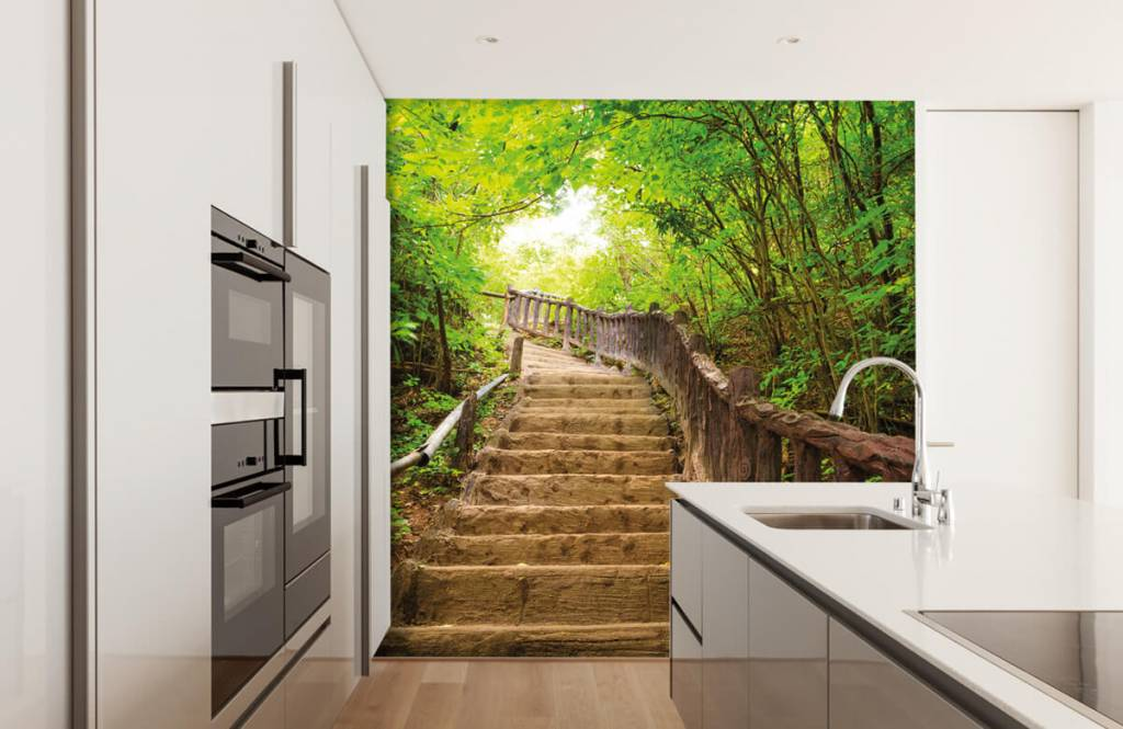 Forest wallpaper - Stairs in a forest - Bedroom 1