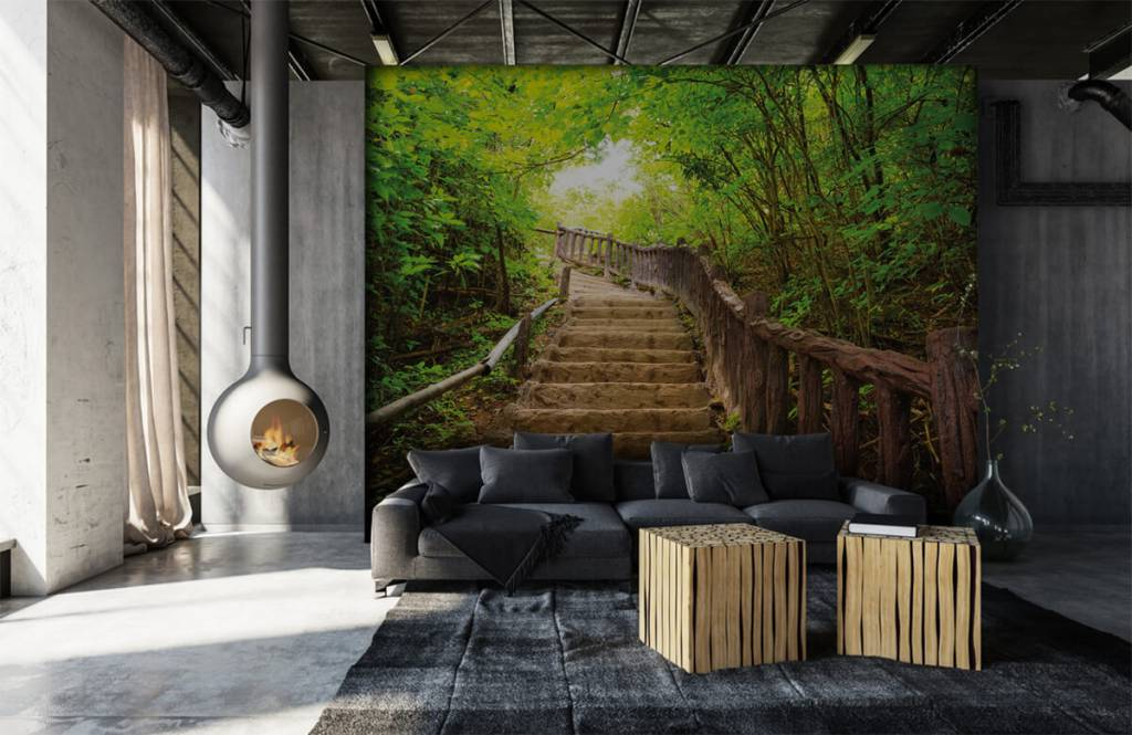 Forest wallpaper - Stairs in a forest - Bedroom 6