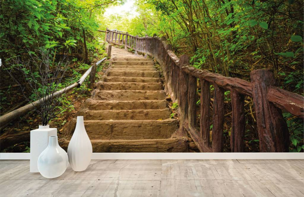 Forest wallpaper - Stairs in a forest - Bedroom 8