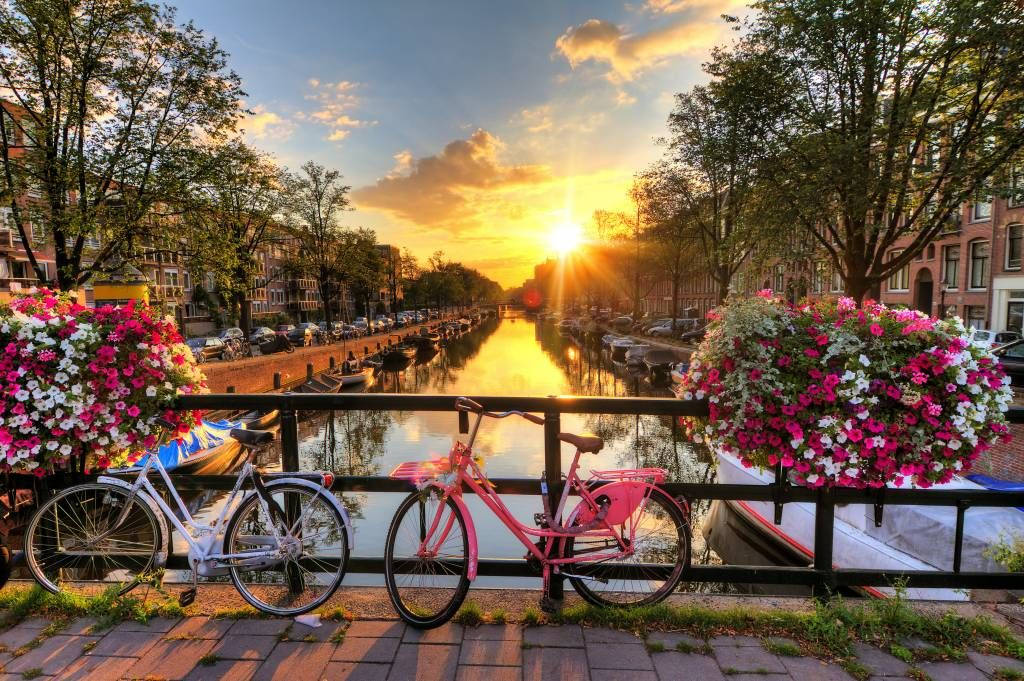 Cities wallpaper - Cycling on a bridge with flowers - Bedroom