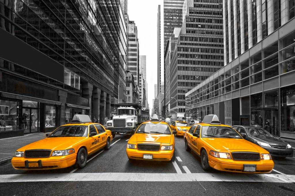 Black and white wallpaper - Yellow taxis in New York - Teenage room