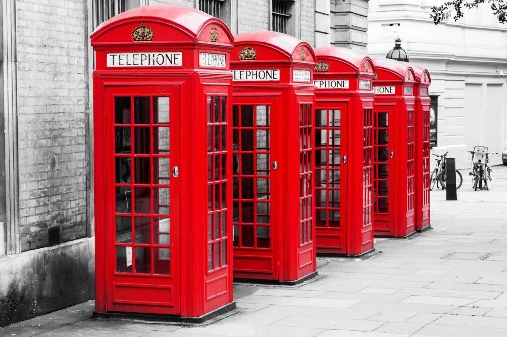 Black and white wallpaper - Telephone booths - Teenage room