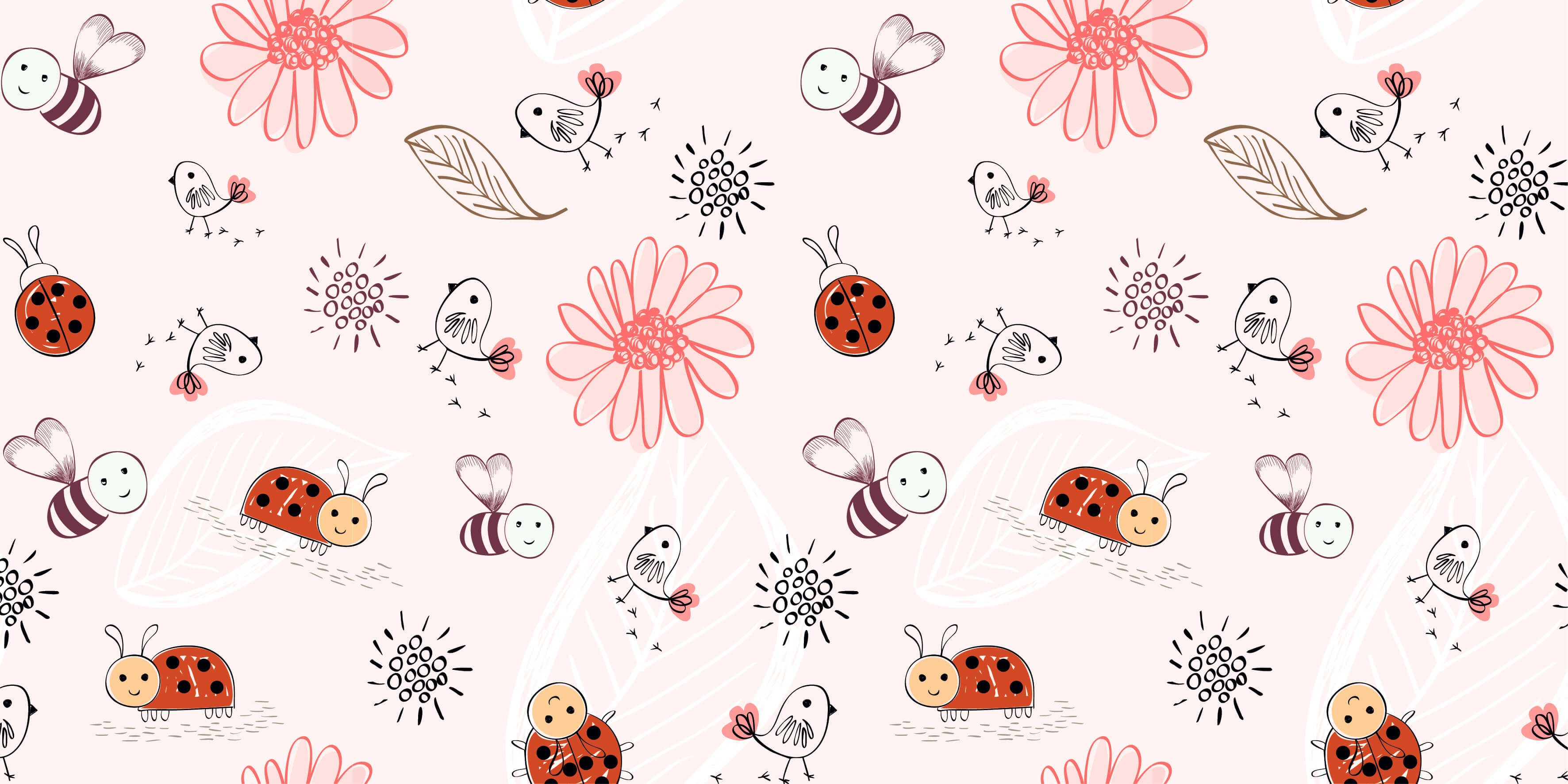 Baby wallpaper - Flowers and bees - Baby room