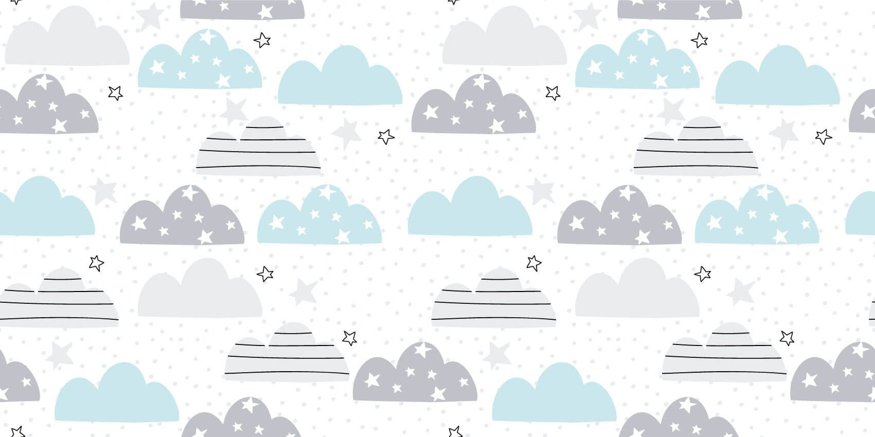 Baby wallpaper - Drawn clouds - Baby room