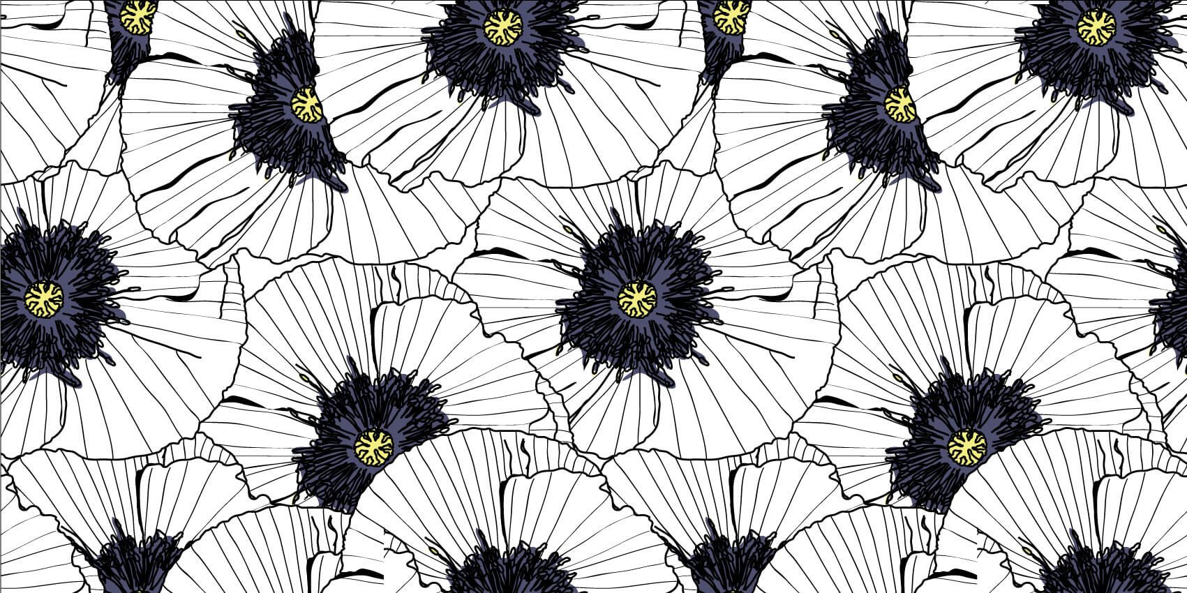 Patterns for Kidsroom - Graphic poppies - Bedroom