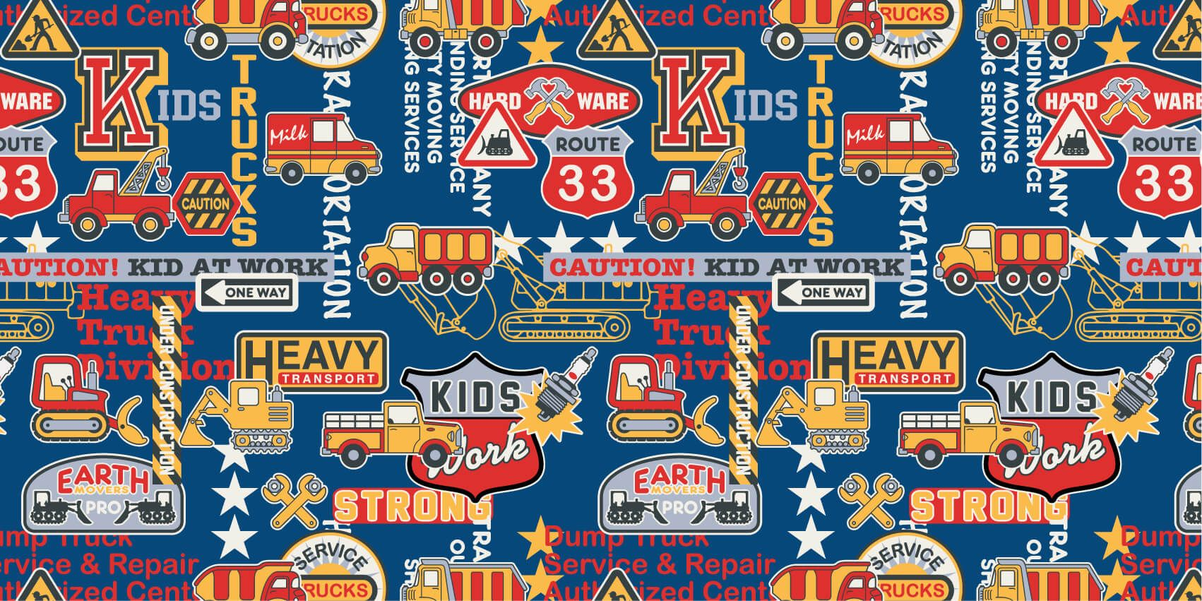 Text wallpaper - Construction traffic and badges - Children's room