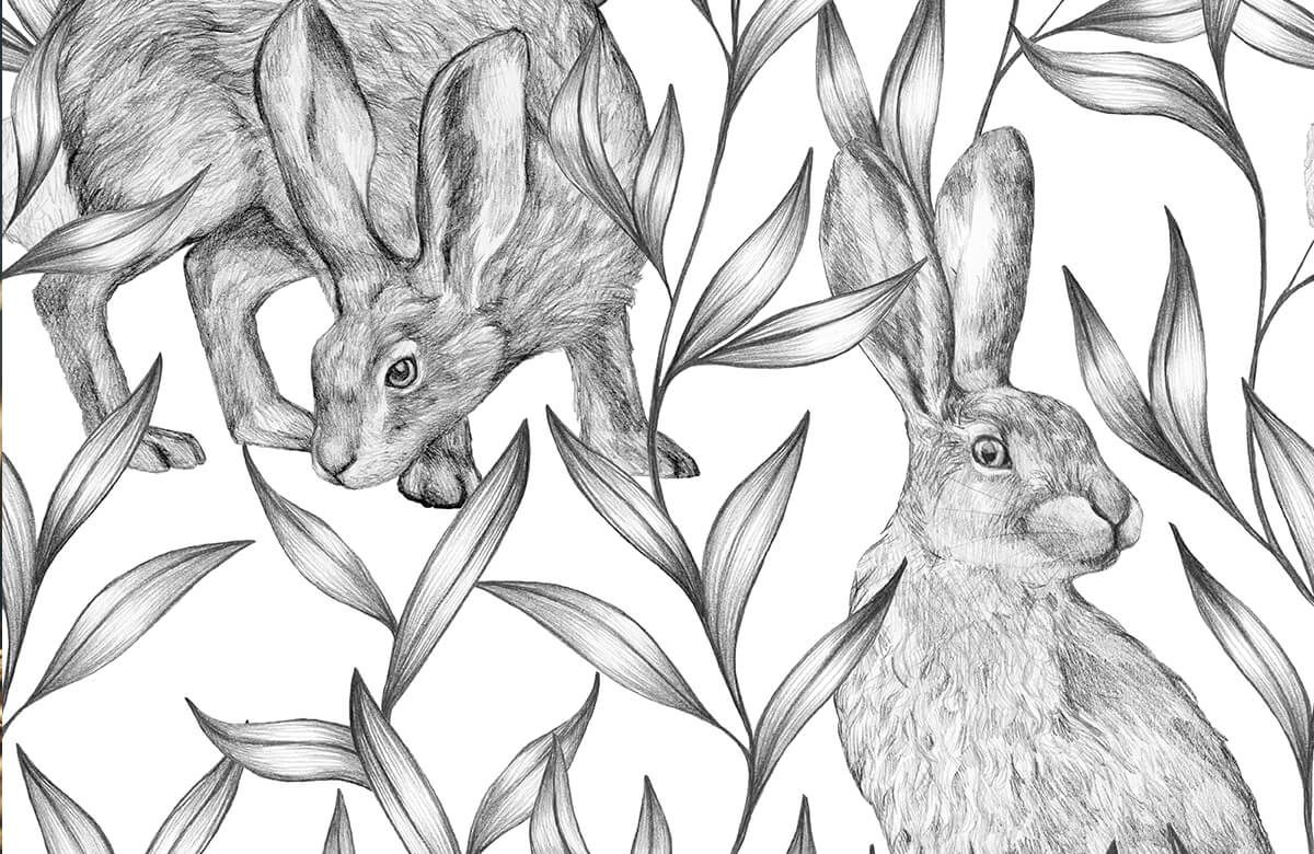 Pattern Hare in black and white