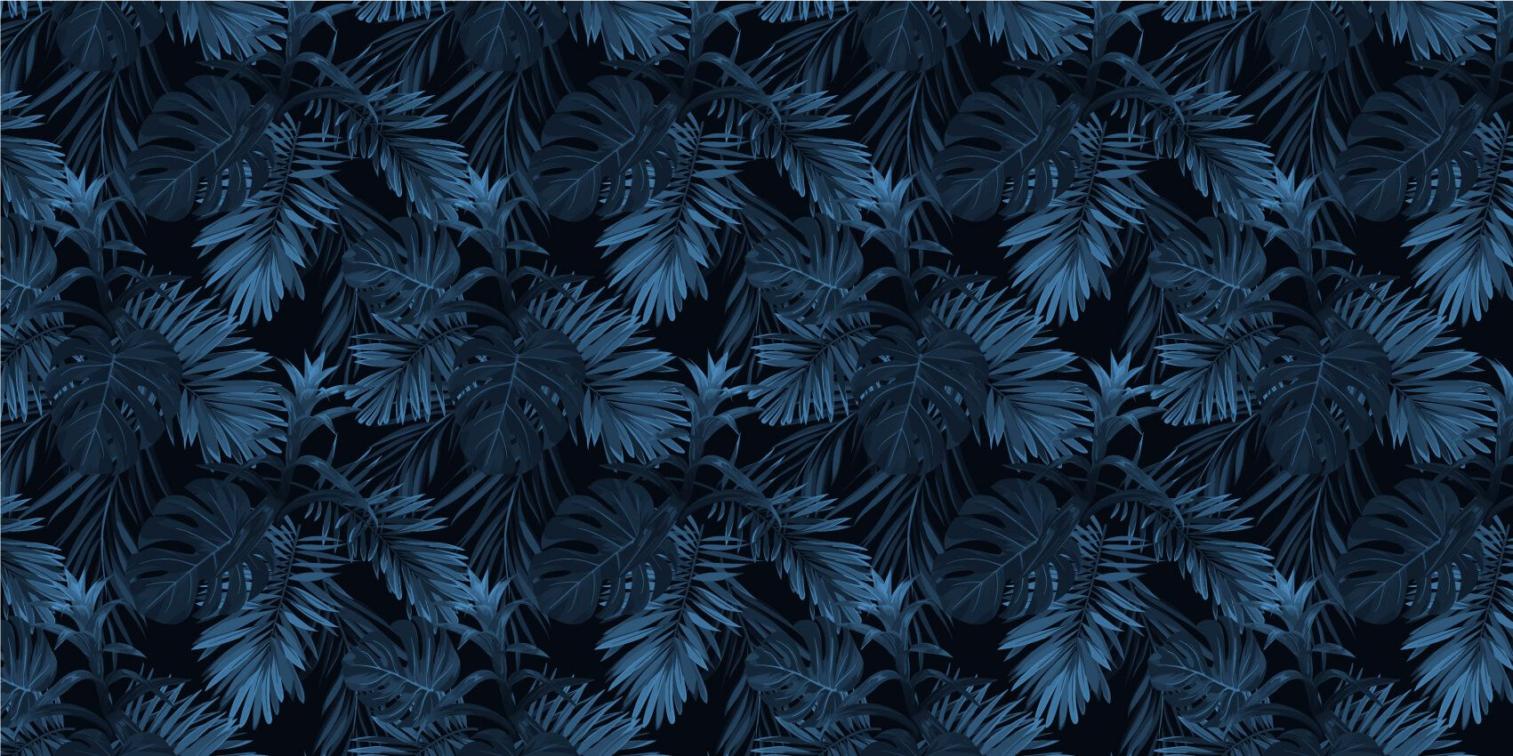 pattern Blue tropical leaves