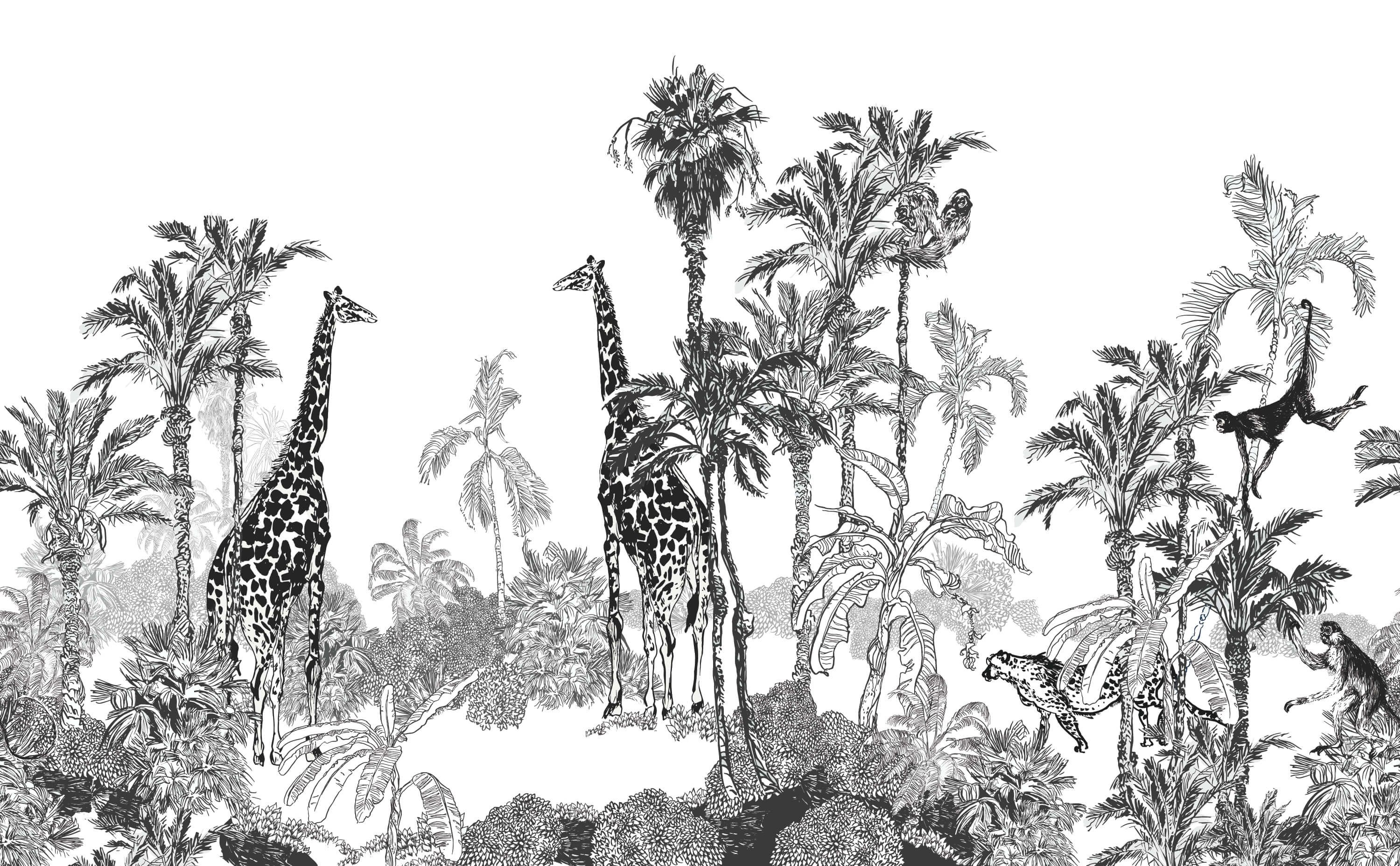 Sketched animals in the jungle