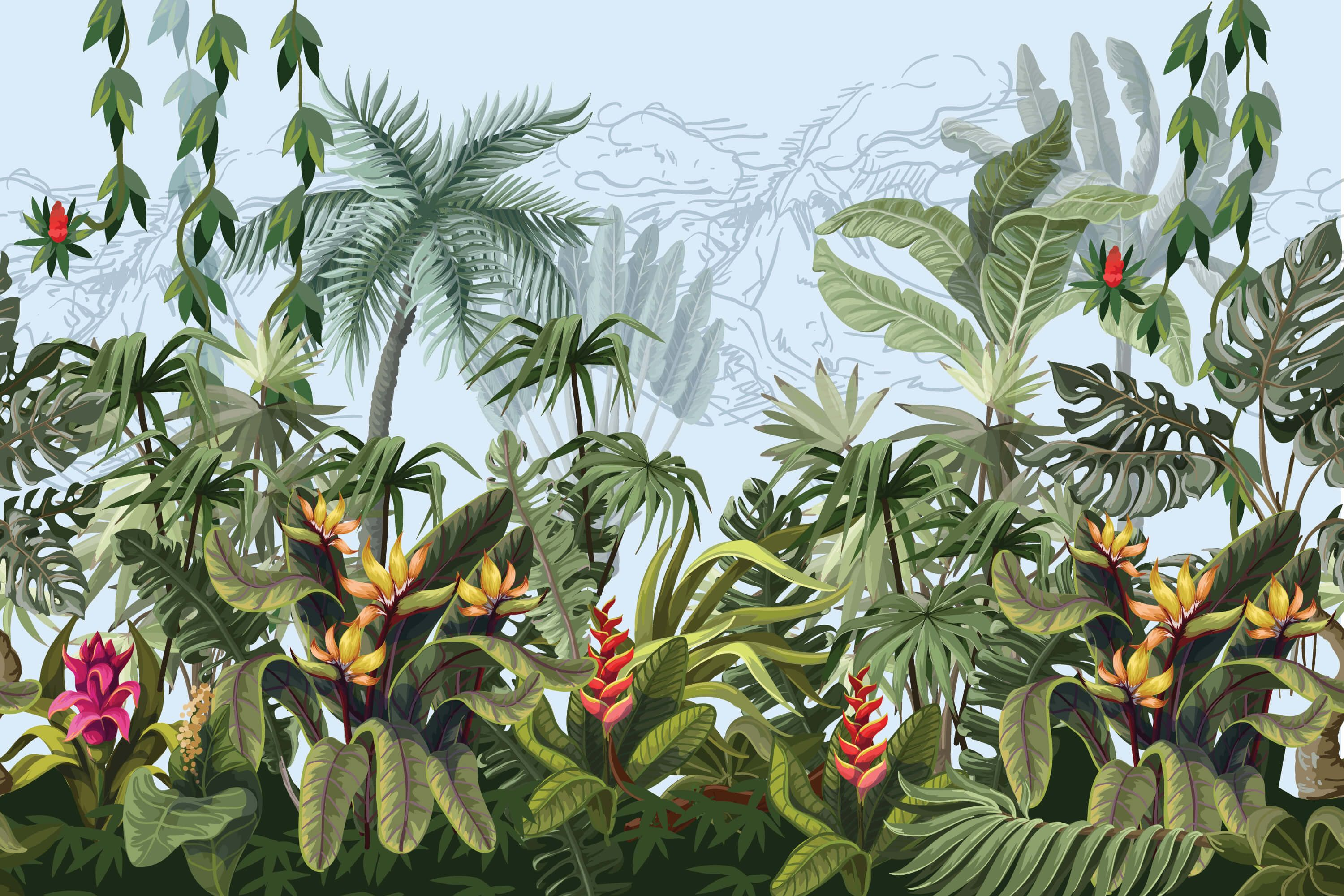 Jungle trees and flowers