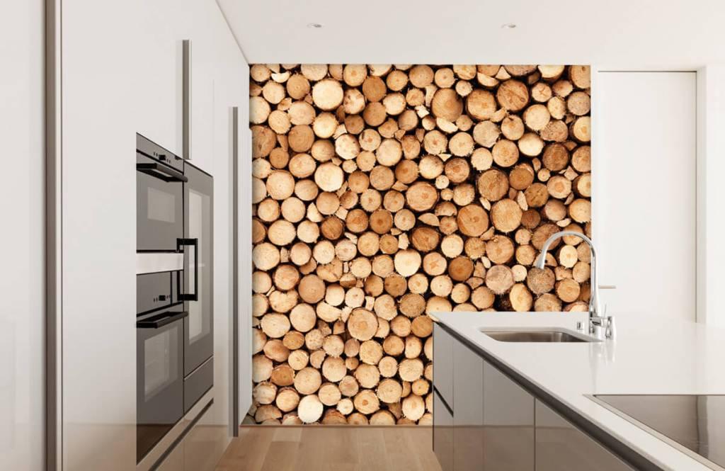 Wooden wallpaper - Fire wood - Living room 1