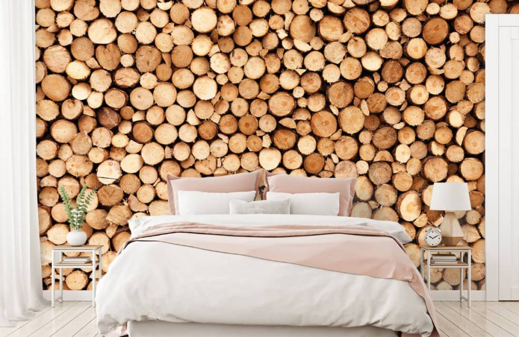 Wooden wallpaper - Fire wood - Living room 2