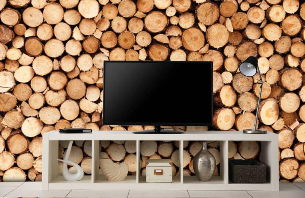 Wooden wallpaper - Fire wood - Living room 3