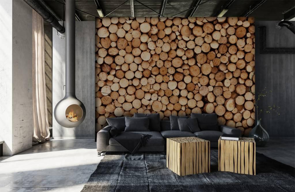 Wooden wallpaper - Fire wood - Living room 5
