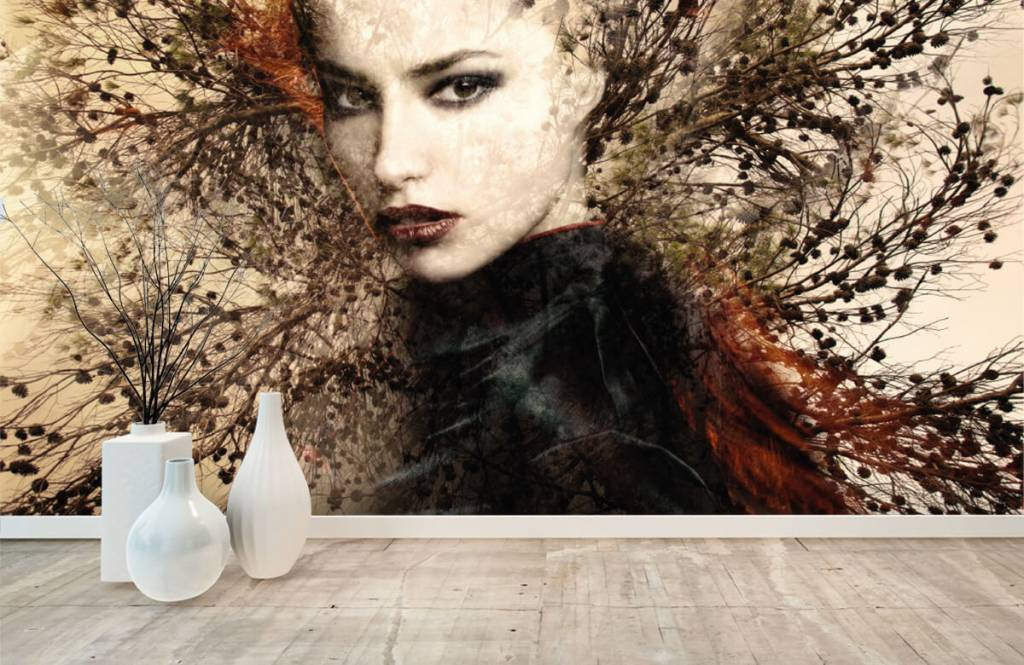 Modern - Woman and graceful branches - Teenage room 1
