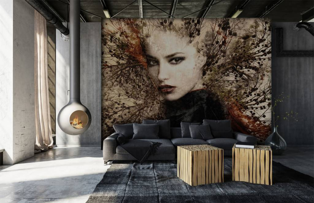 Modern - Woman and graceful branches - Teenage room 2