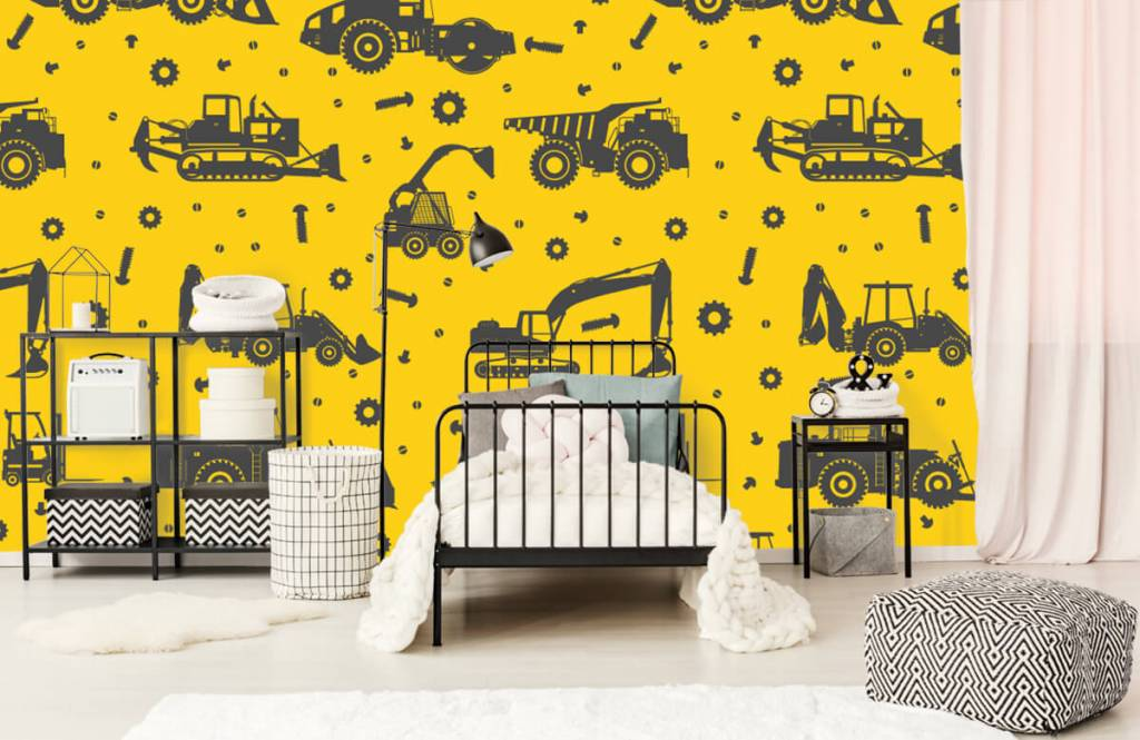Boys wallpaper - Construction traffic yellow - Children's room 2