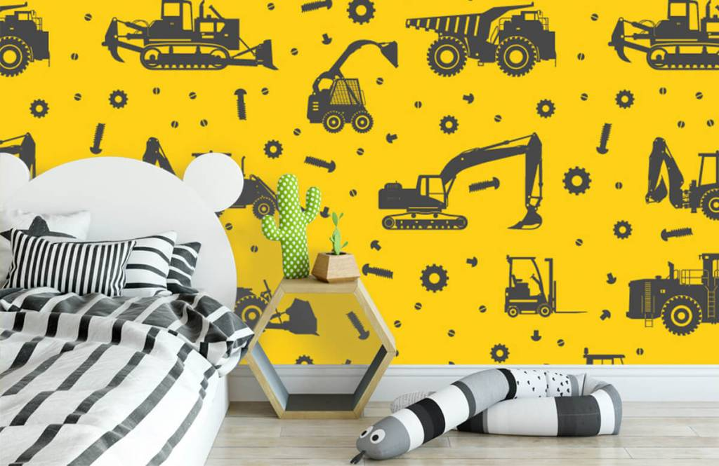 Boys wallpaper - Construction traffic yellow - Children's room 3