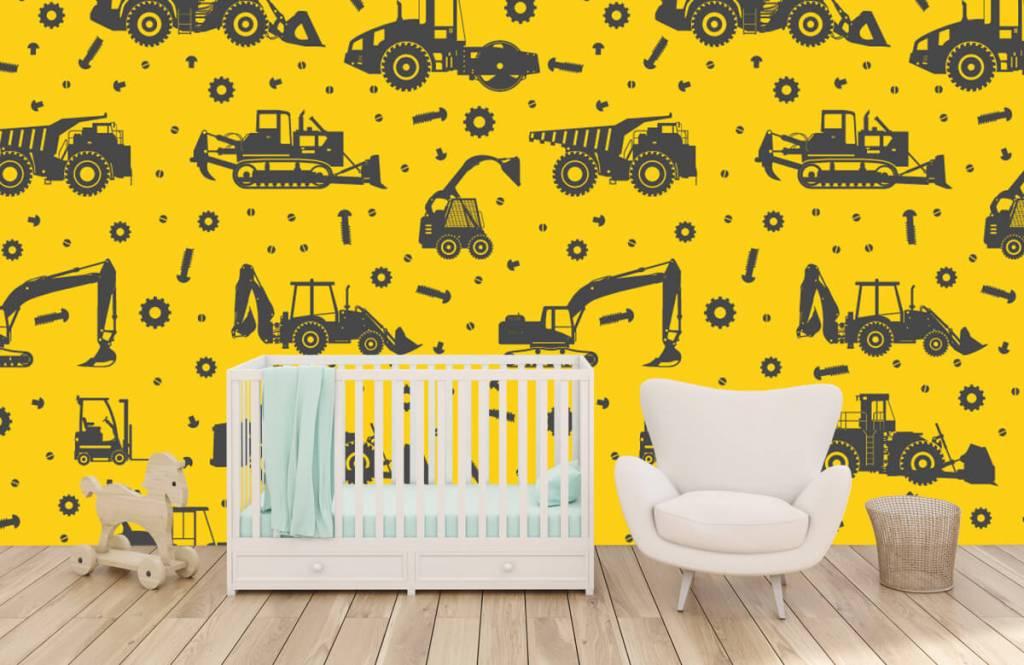 Boys wallpaper - Construction traffic yellow - Children's room 5