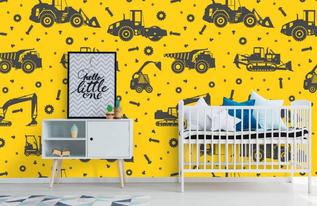 Boys wallpaper - Construction traffic yellow - Children's room 6
