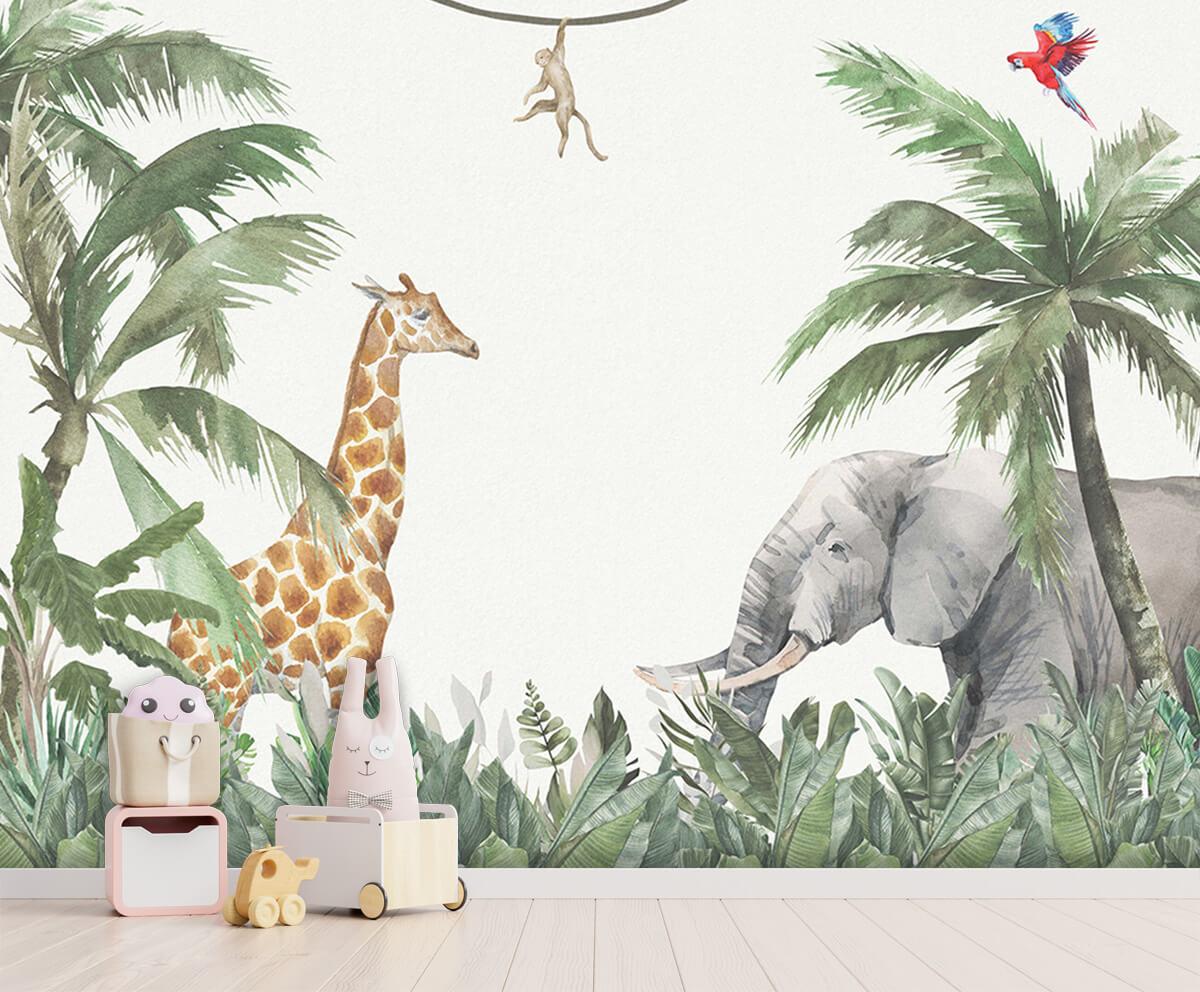 Jungle behang Colorful jungle animals 3