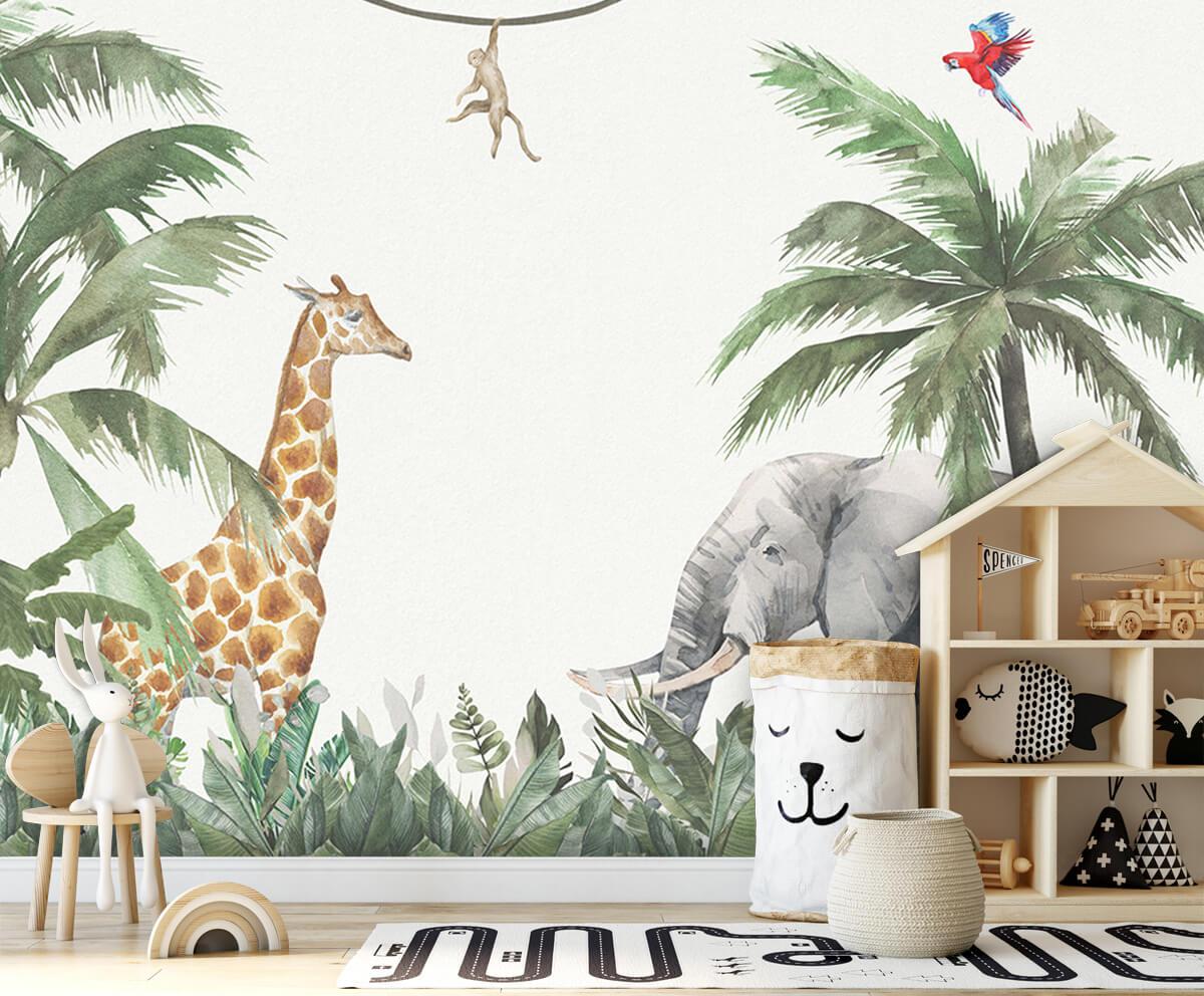 Jungle behang Colorful jungle animals 4
