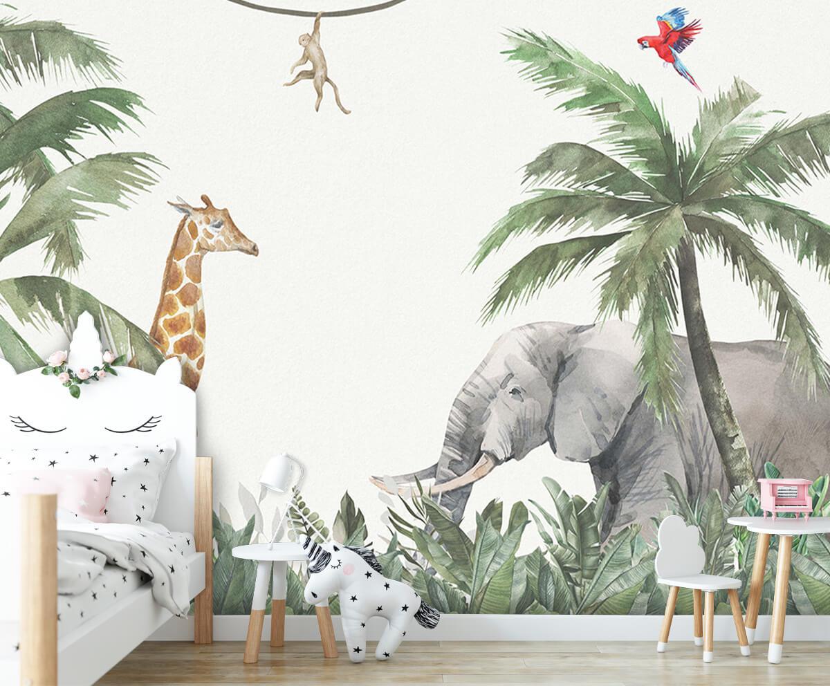 Jungle behang Colorful jungle animals 8