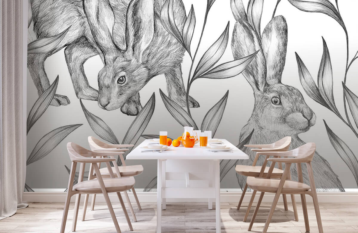 Pattern Hare in black and white 3