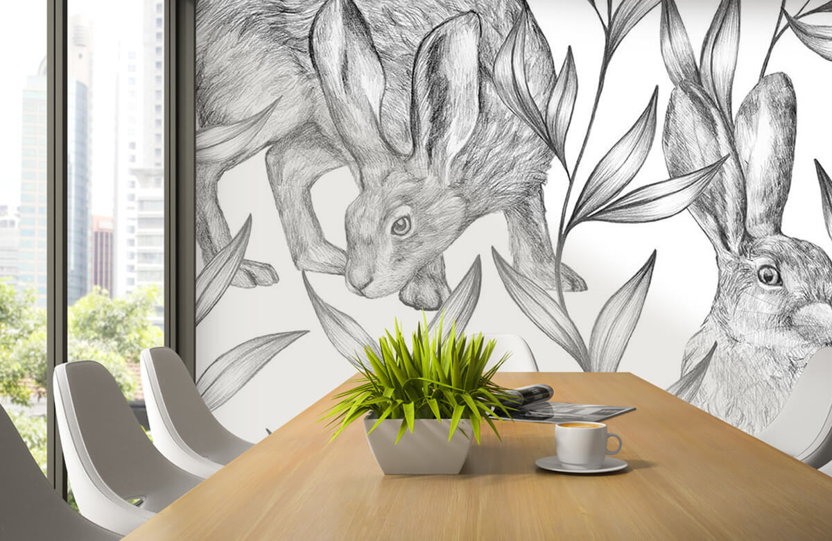 Pattern Hare in black and white 5