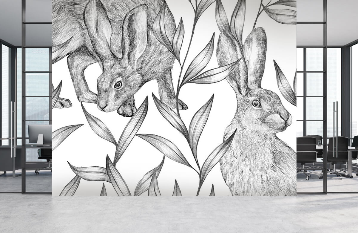 Pattern Hare in black and white 7