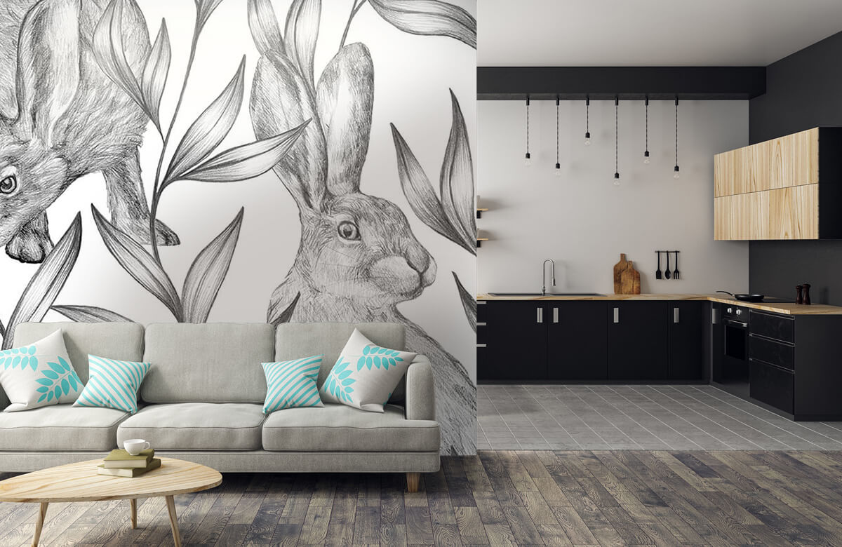Pattern Hare in black and white 10