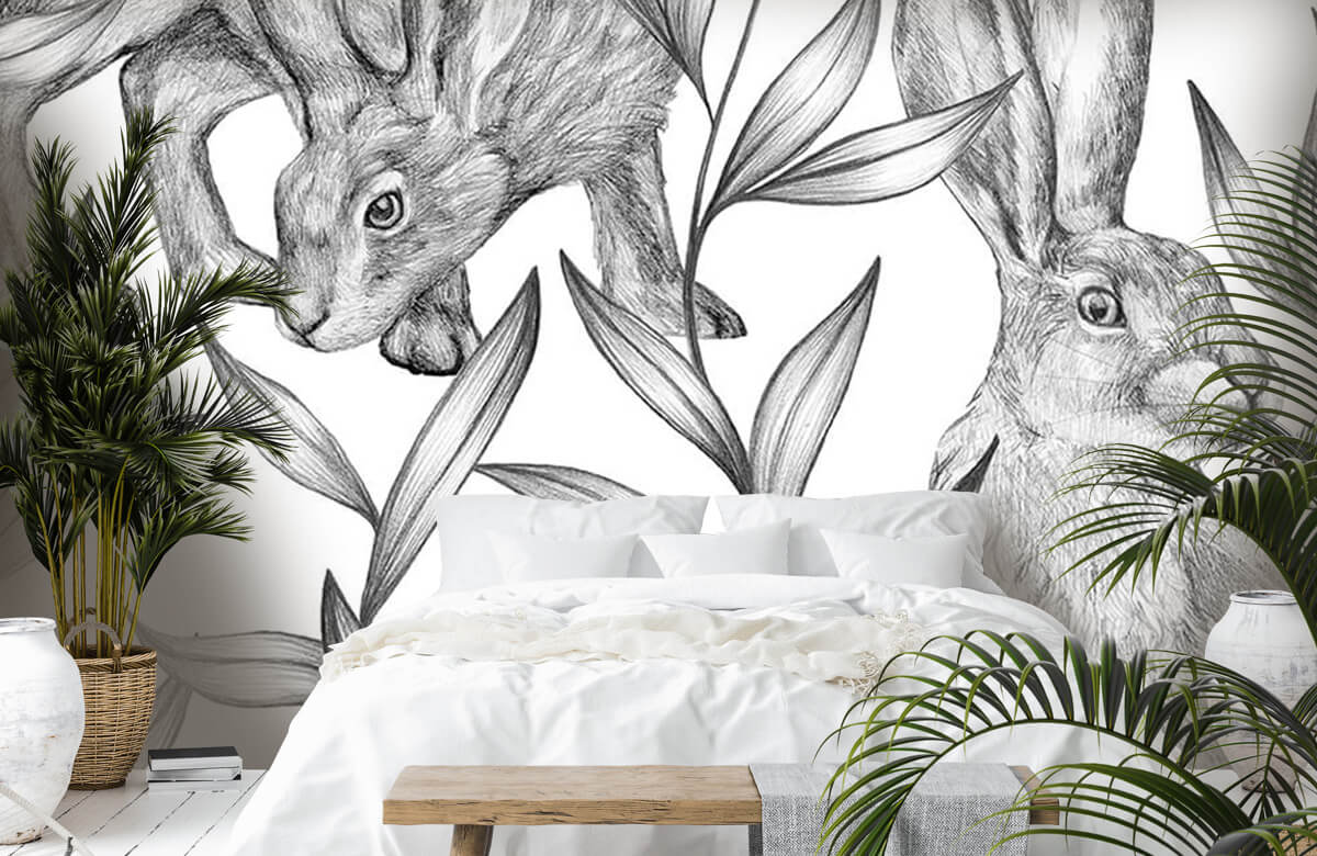 Pattern Hare in black and white 6