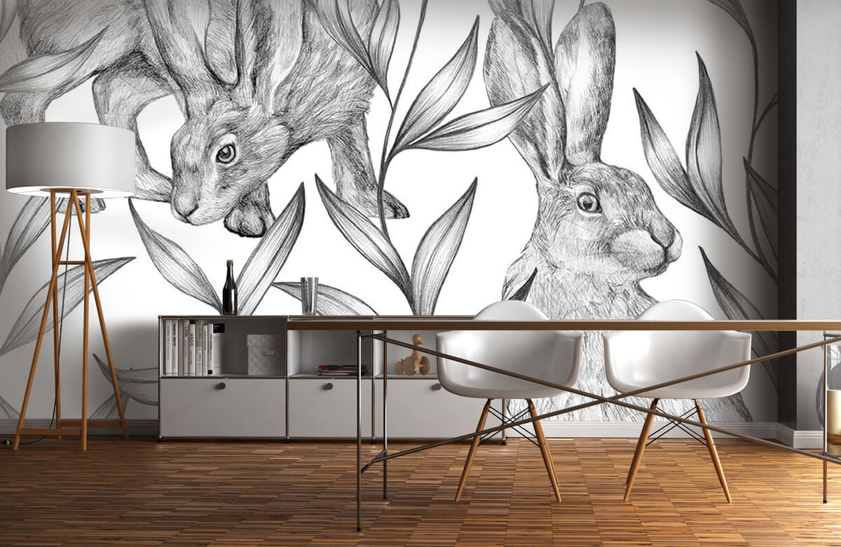 Pattern Hare in black and white 2