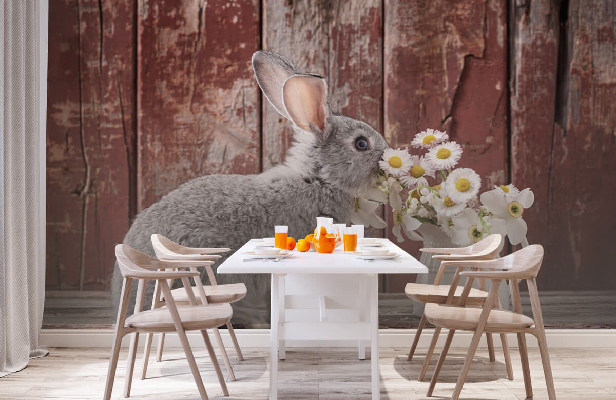 Wallpaper Rabbit with daisies 3