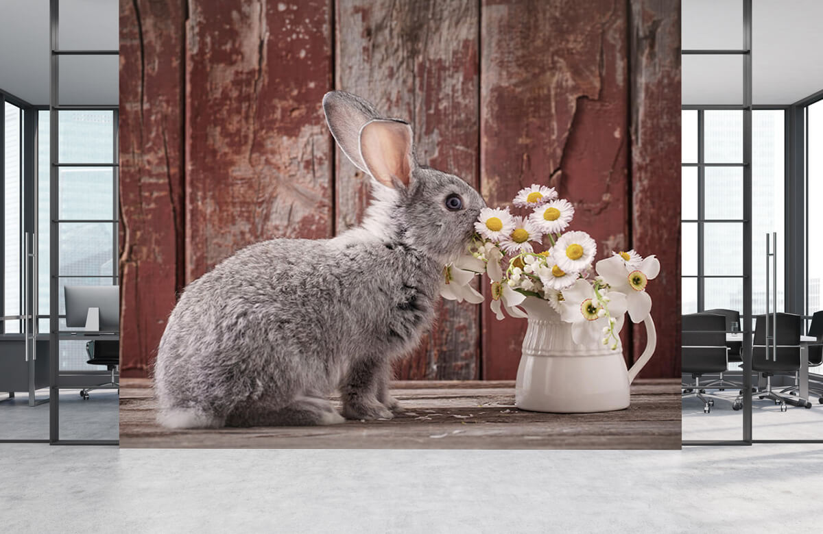 Wallpaper Rabbit with daisies 7